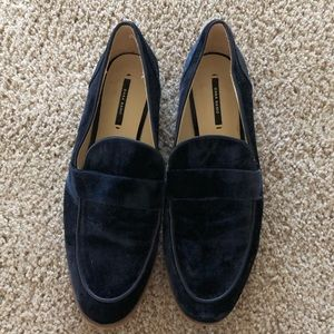 Zara velvet blue loafers